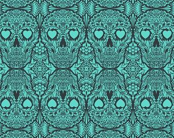 De la Luna by Tula Pink for Free Spirit - Teal Green Sugar Skulls - Spirit - Cotton Quilt Fabric - Choose Your Size 8-21