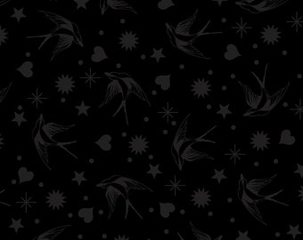 Linework by Tula Pink - Fairy Flakes - Ink Black- Select a Size - Cotton Quilt Fabric 8-21B