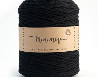 Minimop - Black  80/20 Recycled Cotton & Polyester Twisted Cord Twine Yarn by Lankava