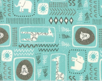 SALE Safari Life by Stacy Iest Hsu for Moda - African Black Print - Aqua - Blue - 100% Cotton Quilt Fabric - Choose your Size