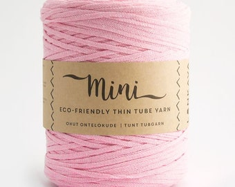 Mini Tube - Light Pink  80/20 Recycled Cotton & Polyester Twisted Cord Tube Yarn by Lankava