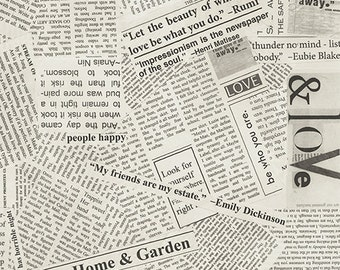 """Pre-Cut Story by Carrie Bloomston for Such Designs and Windham Fabrics - Newspaper - 108"""" Cotton Quilt Back Fabric"""
