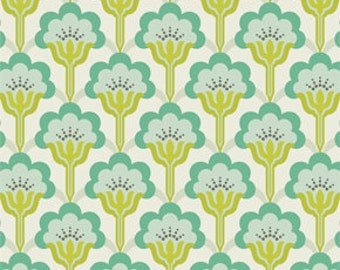 Heather Bailey True Colors - Turquoise Pop Blossom - 1/2 yard cotton quilt fabric  516
