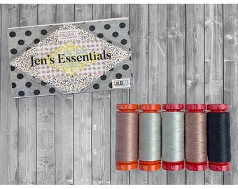 Jens Essentials Collection Aurifil Thread Set as in Quilt Recipes Pattern Book by Jen Kingwell Designs - 12 and 50 weight spools