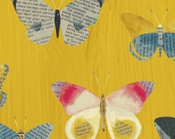 Wonder by Carrie Bloomston for Windham Fabrics - Newspaper Butterflies - Mustard - 50515-4 - Cotton Quilt Fabric - Choose your Size 2020