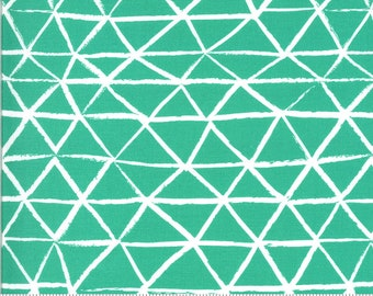 SALE Zoology by Gingiber - Rustic Triangle - Peacock - Turquoise - Select a Size - Cotton Quilt Fabric