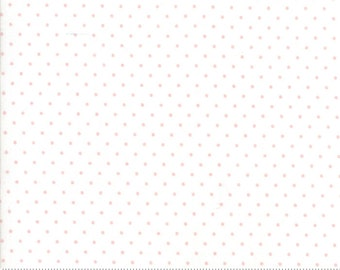 Essential Dots Essential Yours by Moda Basics - White - Baby Pink Dots - BTHY 1/2 Yard Cotton Quilt Fabric - 8654 59