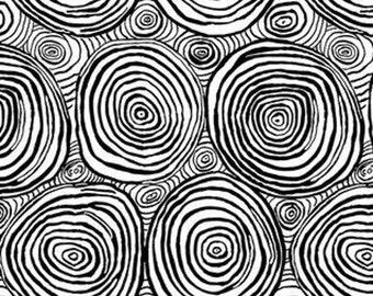 Kaffe Fassett Collective - Onion Rings - Black White - PWBM070 - cotton quilt fabric - FQ Fat Quarter BTHY Yard 1021
