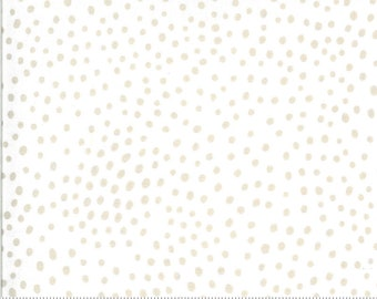 SALE Zoology by Gingiber - Movement Dots - Ivory Feather - Natural - Select a Size - Cotton Quilt Fabric