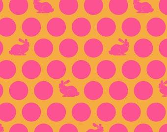 Hoppy Dot Fox Field by Tula Pink -PInk Yellow Sunrise  PWTP049 - 1/2 yard cotton quilt fabric 8-21