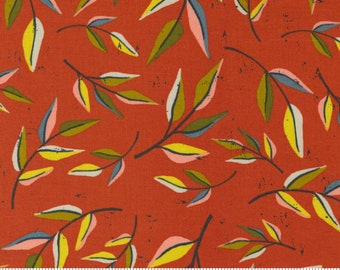 Songbook by Fancy That Design House  - Sweet Marmalade Orange Leaves - 45523 21 - Cotton Quilt Fabric - Fat Quarter fq BTHY By the half yard