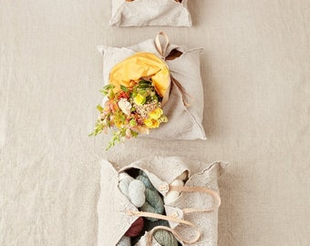 Rustic Linen Four Corner Bag by Cocoknits