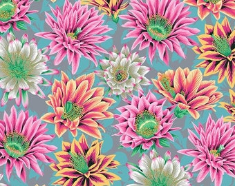Kaffe Fassett Philip Jacobs FreeSpirit - Cactus Flower grey - PWPJ096.TAWNY - Cotton Quilt Fabric - FQ Fat Quarter BTHY Yard 1021