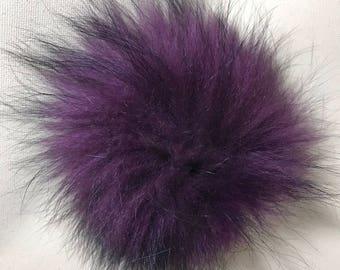 Snap on Raccoon XL Pom Pom 15 cm - Eggplant Purple