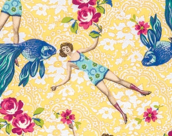 Neptune and the Mermaid by Tokyo Milk for Free Spirit - What Would Poseidon Say? - Yellow - 1/2 Yard Cotton Quilt Fabric 717