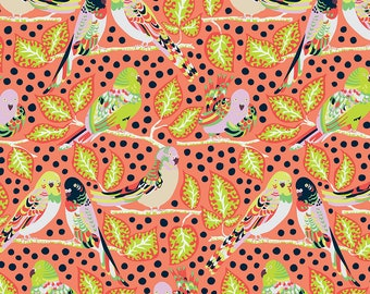Earth Made Paradise by Kathy Doughty Free Spirit Fabrics - Budgie Babies MO048.CORAL- Cotton Quilt Fabric - Fat Quarter FQ BTHY Yard K