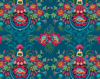 Mini Flower Fairies - MagiCountry by Odile Bailloeul for Free Spirit - Blue PWOB047 - FQ Fat Quarter BTHY Yard - Cotton Quilt Fabric 1021