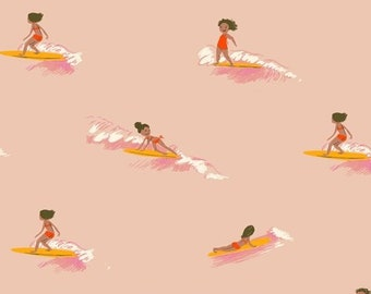 Malibu by Heather Ross for Windham - Tiny Surfers - Peach - 52146-8 - Cotton Quilt Fabric FQ BTHY Yard 921
