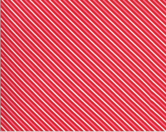 Be Mine by Stacy Iest Hsu for Moda - Candy Stripe - Kisses - Red - 20716 14 - 100% Cotton Quilt Fabric - Choose your Size K