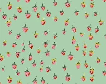 OOP Trixie by Heather Ross Windham Fabrics - 50899-8 - Field Strawberries - Aqua - Cotton Quilt Fabric - FQ BTHY Yard 921