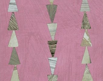 Dreamer by Carrie Bloomston for Windham Fabrics - Triangle Stripe - Rose Pink - FQ BTHY Yard Cotton Quilt Fabric 8-21