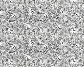 Spirit of Halloween by Cori Dantini for Free Spirit - We See You - CD005 White - 100% Cotton Quilt Fabric - FQ Fat Quarter 921