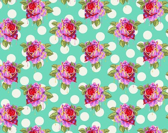 Curiouser & Curiouser by Tula Pink - Painted Roses Wonder - TP161.WONDER Cotton Quilt Fabric - Fat Quarter fq BTHY Yard