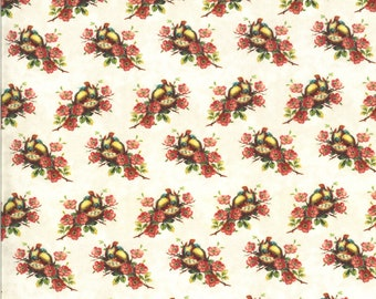 SALE Flea Market Mix by Cathe Holden for Moda - Nesting Birds - Parchment - Natural - Select a Size - Cotton Quilt Fabric
