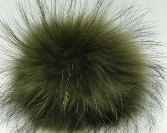 Snap on Raccoon XL Pom Pom 15 cm - Olive Green
