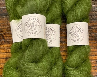 Moss Green Gossamer Lace Mohair Silk Yarn by Chasing Rabbits Fiber Co. - Skein of Hand-Dyed Lace Weight Yarn