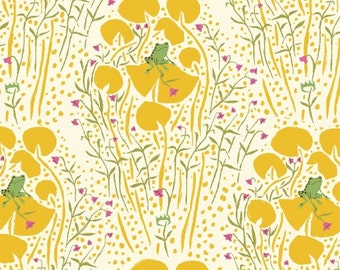 OOP Heather Ross Far Far Away Reprint Windham Fabrics - 39661-6 Green Frogs on Yellow Lily Pads - FQ Fat Quarter cotton quilt fabric 921
