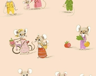 OOP Trixie by Heather Ross Windham Fabrics - 50897-2 - Country Mouse City Mouse - Blush - Cotton Quilt Fabric  FQ BTHY Yard 921