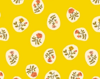 Heather Ross 20th Anniversary Reprint Windham Fabrics - 40930A-7 Yellow Small Roses from Tiger Lily - Cotton Quilt Fabric FQ BTHY Yard 921
