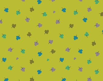 SALE Solstice by Sally Kelly - Lime Green Clover  - 51935 5 - Select a Size- FQ - half or full yard- Windham Cotton Quilt Fabric K