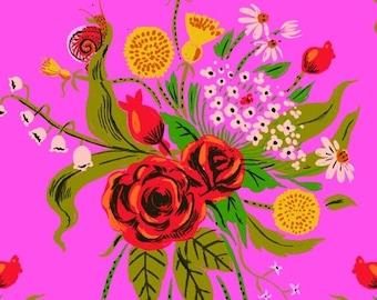Heather Ross 20th Anniversary Reprint Windham Fabrics - 42205A-3 Pink Wild Flowers Sleeping Porch -  Cotton Quilt Fabric FQ BTHY Yard 921