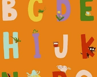 OOP Kinder by Heather Ross for Windham Fabrics - Alphabet - 43481-5 Orange - BTHY 1/2 Yard Cotton Quilt Fabric 921