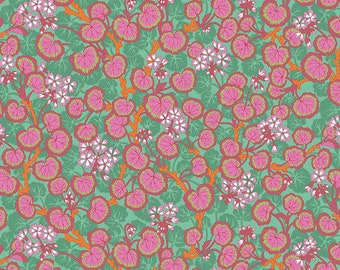Kaffe Fassett Collective - Philip Jacobs - Aug 2021 - Climbing Geraniums - Duckegg - PWPJ110.DUCKEGG - Select a Size - Cotton Quilt Fabric