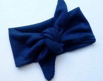 Headwrap Baby Head wrap Bow headwrap Navy Blue Toddler headwrap Retro Tie Knot Headband Baby Shower Gift Adult