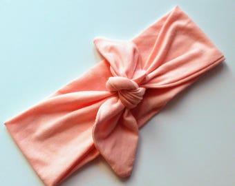 Headwrap - Baby Head wrap - Bow headwrap - Peach - Toddler headwrap - Retro Tie Knot Headband - Baby Shower Gift Adult