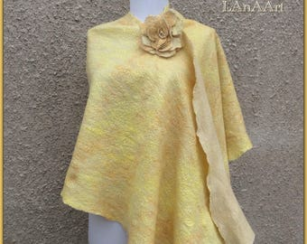 Felt shawl Golden Princess, felted merino and silk wrap, large scarf and brooch flower Rose, fine, cape, cobweb, GOLDEN SUN and ROSE, yellow