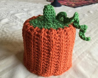 Crocheted Pumpkin Toilet Paper Cover
