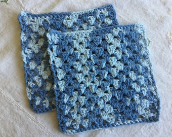 Variegated Blue Crocheted Dishcloth Set (READY TO SHIP!)