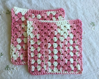 Pink and White Crocheted Dishcloth Set (READY TO SHIP!)