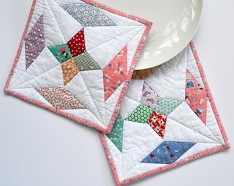 Feed Sack Pot Holders, Quilted Pot Holders, Kitchen Decor, Hot Pads, Hostess Gift, Set of Two for sale  Delivered anywhere in Canada