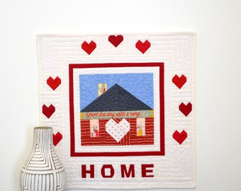Heart of the Home Quilt, House Wall Hanging, Mini Quilt, Home Sweet Home Quilt