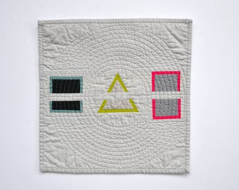 Minimal Mini Quilt, Quilted Wall Hanging, Geometric Wall Decor, Minimal Wall Hanging, Minimal Art, Geometric Quilt