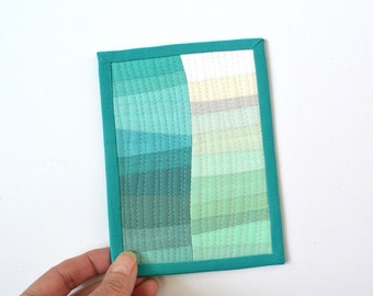 Beach Mini Quilt,  Wave Mini Quilt, Mini Quilt, Ocean Quilt, Fabric Postcard, Mini Quilt, Mug Rug