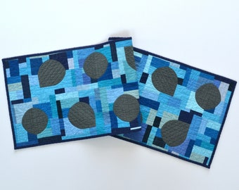 Blue Table Runner, Graphic Table Decor, Quilted Table Runner, Abstract Table Runner, Modern Table Runner