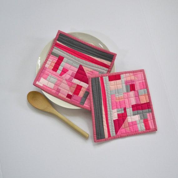 coral pink and blue white print housewarming gift modern kitchen mothersday gift colorblock potholder modern pink trivets