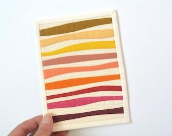 Improv Mini Quilt,  Wave Mini Quilt, Mini Quilt, Improv Quilt, Fabric Postcard, Mini Quilt, Mug Rug